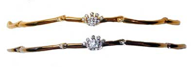 "Crown Bracelet - Linked bar bracelet with crown set with clear crystals.  Available in Gold or Silver tone.  6 ½""L"