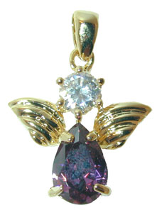 "?Angel Pendant? – In various Birthstone colors.  Gold tone angel pendant set with colored Cubic Zirconium stones.  Available in 12 Colors.  16"" chain included."