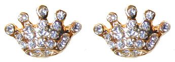 """Petite Crown Earrings"" Pierced earrings set with Clear Crystals."