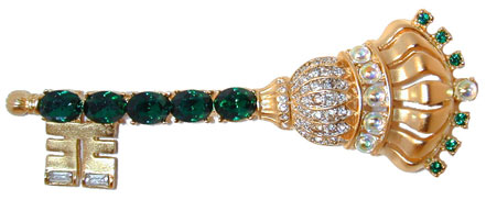 """The King's Key"" Gold tone pin set with Emerald Colored stones and Clear and Opalescent Stones on the Crown."