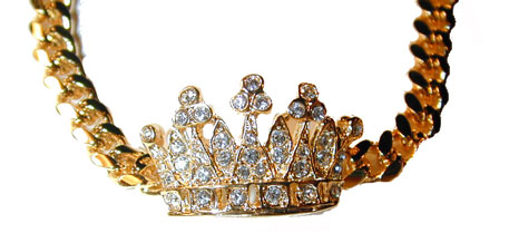 """Crown Bracelet"" Crown set with clear crystals. Available in gold tone (shown) or silver tone."