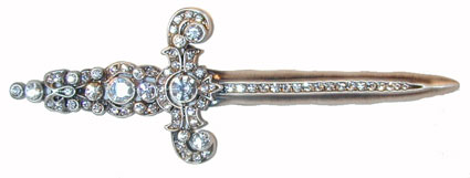 """Deborah's Sword"" Pewter tone sword set with clear vibrant crystals."