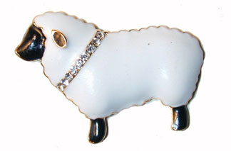 ?Shepard's Lamb? Gold tone white enameled lamb with a clear cyrstal collar.