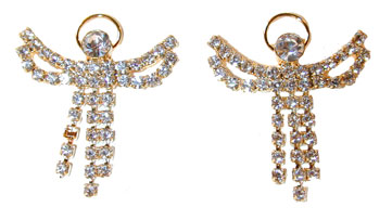 Angel On My Shoulder Earrings  (Matches P167 pin) Gold tone set with