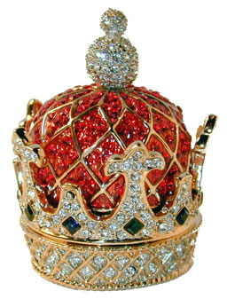 """Crown Trinket Box"" Gold tone crown set with clear and red crystals and blue and green crystal accents."