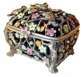 ?Antique Gold Trinket Box?  Antique Gold box with open branch design accented with pink, yellow and green flowers and crystals.