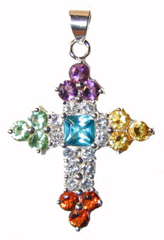 """Sterling Silver Cross Multi Color Gems"" Sterling Silver set with clear CZs, Amethyst, Turquoise, Citrine, Peridot and Garnet. Chain included."