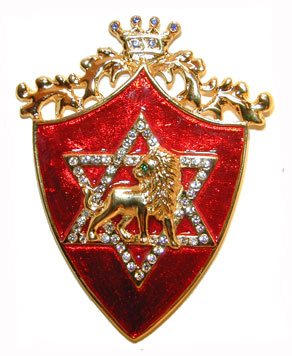"""Shield of El Elyon ©"" Gold tone shield with red enamel background. Star of David with lion set with clear crystals."