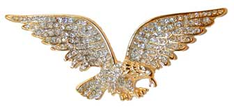 "Open Wing Eagle"" Gold tone pin set with clear Austrian crystals. 3""W x 1¼""H"
