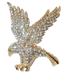 Attacking Eagle - Gold tone pin set with brilliant clear crystals.