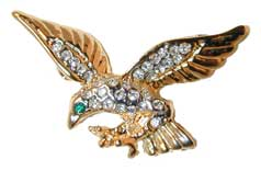 Two Tone Eagle - Gold and Silver tone pin set with clear Austrian crystals and green crystal eye.