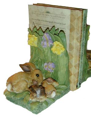 """Bunny Book-Ends"" Adorable Momma and Baby Bunny snuggle in this Iris Bookends."