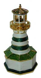 ?Striped Lighthouse?  White and green striped with gold accents