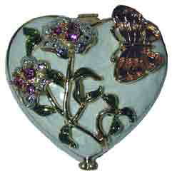 Heart Box Red or White Enamel Box. with purple butterfly. Flowers accented with crystals.