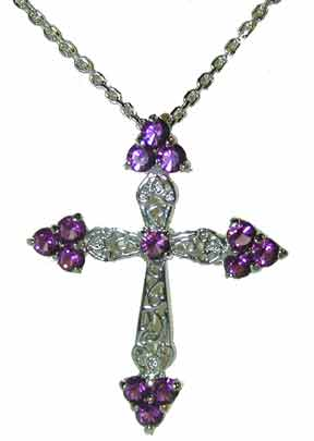 """Large Sterling Silver Clear Cross"" Channel set graduated cler round CZs.. 18"" Chain included."
