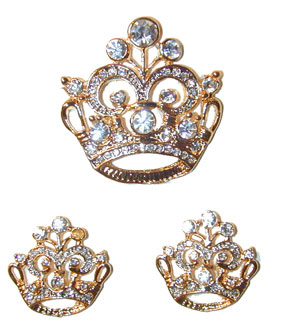 """Crown of Purity"" Pin & Earring Set  Gold tone pin and earrings set with brilliant clear Austrian crystals. Pin"