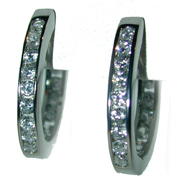 """Large Hoops"" Sterling Silver set with channel set clear CZ's."