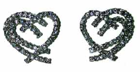 """My Heart Your Heart Earrings"" Silver tone set with clear CZ's. 16"" chain with extender."