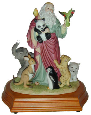 """Talk To the Animals"" Noah Figurine. Exceptional attention has been paid to the detail in this Westland Giftware Musical Figurine. Noah is surrounded by his animal friends on a wooden base. Plays ""If I Could Talk to The Animals"