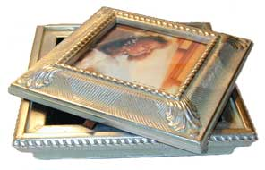 "Photo box -Antique silver design. Box holds 5""x5"" photo on lid. Black velvet lining."