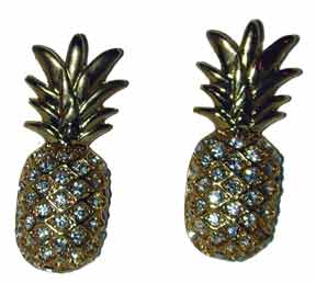 Hospitality Pineapple Earrings Gold tone set w/ clear crystals