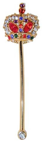 "Scepter with Crown - gold tone pin with colored crystals in crown. 3¼""L x ⅞""W"