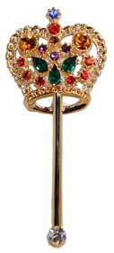 "Crown Scepter - Gold tone set with brilliant multi colored crystals. 3¼""H x 2½""W"