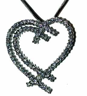 """My Heart Your Heart"" Silver tone set with clear CZ's. 16"" chain with extender."