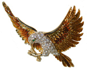"""Eagle of Victory"" - Gold tone with Gold and brown enamel. Set with clear crystals."