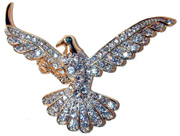 Dove of Freedom Gold tone eagle set with clear crystals.