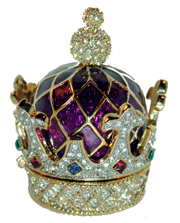 """Purple Crown Pill Box"" Purple gold tone crown bill box set with clear crystals and accented with red, blue and green stones."