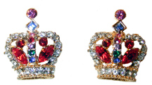 ?Crown of Life Earrings? Gold tone set w/ red, blue, pink, green and clear crystals.