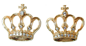 """Crown and Cross Earrings"" Gold tone pierced earrings, set with clear crystals."