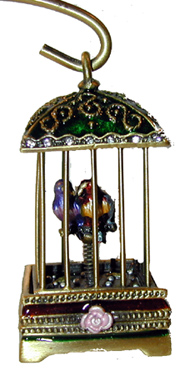 "?Bird Cage with Hanger ? Antique gold bird cage. Red and green enamel cage and stand with tow birds in the cage. 6""H x 4""W overall."