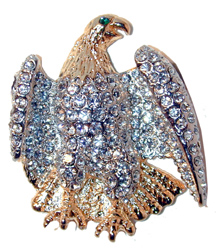 Watch & Pray Eagle Gold tone eagle set with clear crystals. Green