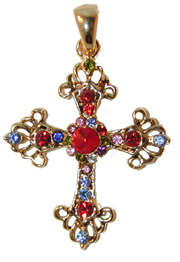 """Antique Cross"" Gold tone set with red, blue, pink and green crystals. Chain included."
