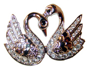 """Double Swan"" - Silver tone pin set w/ clear CZ's, green crystal eyes."