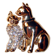?Two Cats? Gold tone pin set with clear crystals