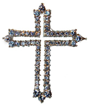 """Rhodium Cross Pendant"" Set with clear CZs. 18"" Chain included."