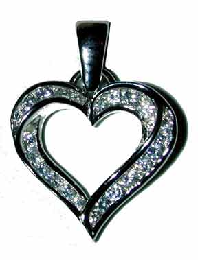 Sterling Silver Heart Sterling silver channel set with clear CZ's